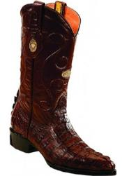 White Diamonds J Toe Genuine caiman tale Brown Boots