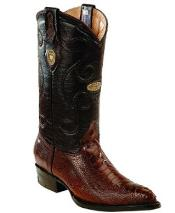 White Diamonds Leather Upper Shaft Genuine Ostrich Leg Brown Boots