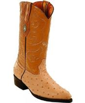 White Diamonds J Toe Genuine Full Quill Ostrich Sand Boots