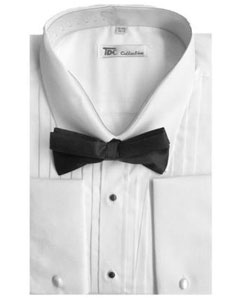 Mens Tuxedo Dress Shirt with Bow-Tie Set French Cuff White