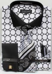 Avanti Uomo Printed Pattern French Cuff Dress Shirt White