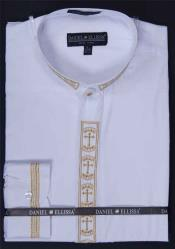 White collarless Dress Shirt Banded Collar With Versatile Cross Embroidery Design