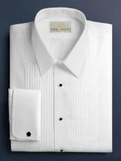 Solid Pleated Laydown White Tuxedo Shirt With Pleats