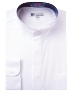 Band Collarless Dress Shirts White
