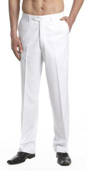 Mens Dress Pants Trousers Flat Front Slacks White