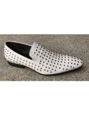 Mens White Genuine Suede Soft Genuine leather Studs Design Slip-On Stylish Dress
