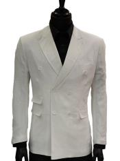 Lanzino Mens Double Breasted Suits Jacket Solid White Linen Dress Casual Jacket