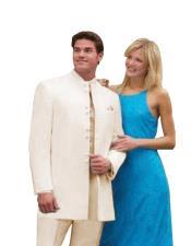 Best Quality Mandarin Collar Off/Ivory White Mandarin Suit