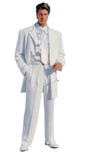 Mens Zoot Suit Mens White Modern Dress Fashion suit