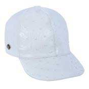 White Genuine Ostrich Cap
