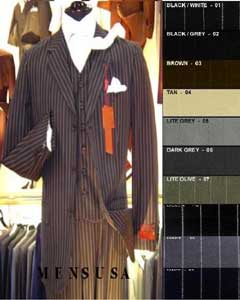 Bold White Pinstripe Vested Super fine Wool feel poly~rayon 3 Button Suit