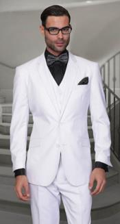 Pleated Panted Feel Poly-Rayon Vested 3 Piece Suit White Regular Cut