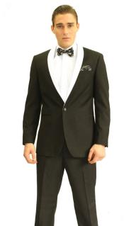 Button Black And White Shawl Lapel Suit Dinner Jacket  & Black Pants Fashion Tuxedo For Men
