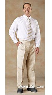 Pleated Pants / Slacks Plus White Shirt & Matching Tie Beige