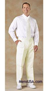 Mens Pleated Pants / Slacks Plus White Shirt & Matching Tie Ivory unhemmed unfinished bottom