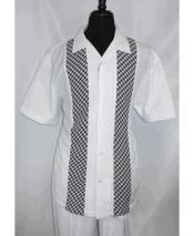 White Short Sleeve 5 Buttons Side Vents Shirt Walking Leisure Suit