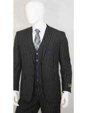 White Stripe 2 Buttons With Vest Jet Liquid Black Suit