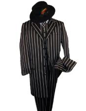 WTXZoot200SUITAMM282 SHIMMERY GANGSTER  Black And Bold Pronounce  White Stripe ~