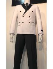Double Breasted Tuxedo Mens White and Black Lapel Double Breasted Suits Tuxedo