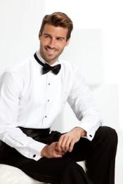 Mens White Tuxedo shirt with bow tie Black Tuxedo Pants