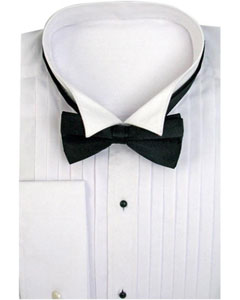 Wing Collar with Bow-Tie Set French Cuff White Mens Dress Shirt