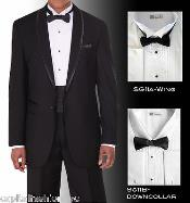 Mens Tuxedo Shirt Winged Tip Down Collar BowTie Set