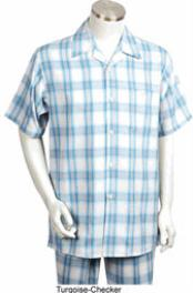 Mens Short Sleeve 2 piece Casual Walking Suit White ~ Turquoise Blue