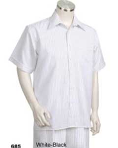 Short Sleeve 2piece Casual Walking Suit White