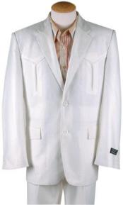 Mens Polyester Western Suit White