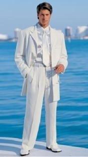 Mens White Modern Dress Fashion suit