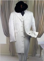 SNOW WHITE 3PC FASHION ZOOT Suits For Men WITH A VEST