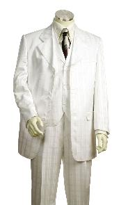 Fashionable 3 Piece White Ton on Ton Shadow Stripe  Zoot