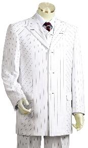 Mens Black Pinstripe 3 Piece Vested White Zoot Suit