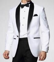 Downtown Pearl White and Black Jacket Fashion Tuxedo For Men - All