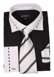 Collar Two Toned Contrast with White Collar and French Cuff Black Mens Dress Shirt