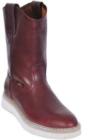 Los Altos Safety Harness Mens Work Boots Toe Leather Grasso Burgundy