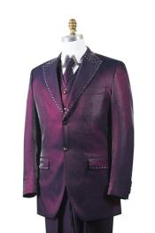 Mens Wine Sharkskin Rhinestone 3 Piece Entertainer Suit