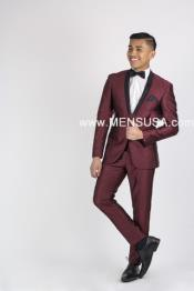 Black and Burgundy ~ Wine ~ Maroon Color Suit Or Tuxedo Black Lapeled Dinner Jacket