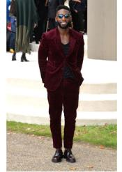 Mens Burgundy ~ Wine ~ Maroon Suit  Corduroy Suit 2 Button