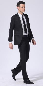 Mens Wool Fabric One Button 2Piece Double-vented Suit Black