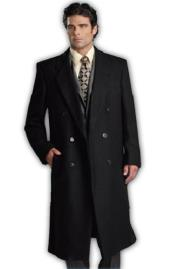 Man Bent Fully Lined Double Breasted 6 Buttons Mens Dress Coat Wool