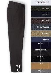 FRONT No Pleat MENS WOOL DRESS PANTS HAND MADE RELAX FIT