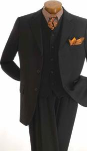 Apollo King Notch Lapel 3 Piece Single Breasted Wool Outlet Suit