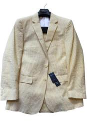 Seersucker Suit Mens Yello Cotton Blend