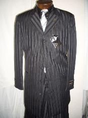 Black On Black Gangster tone on tone Shadow Pinstripe Fashion Long Zoot