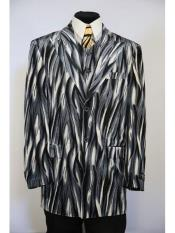 Mens Peak Lapel 3pc vested Flames designed zoot suit Grey