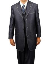 Navy Denim Look 3PC Fashion Zoot Suit