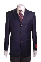 3-button Navy Blue Wool