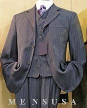 Grey Striped 3-button High