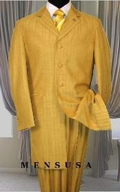 Mens High Fashion Metalic Festive Gold Long Zoot Suits Available inch